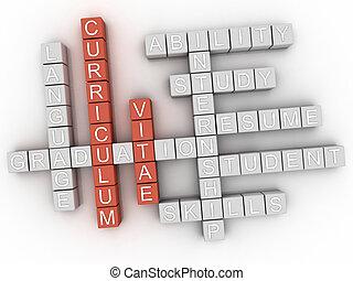 3d Curriculum Vitae Concept word cloud