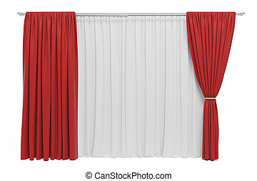 3d curtains on white background