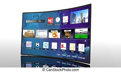 3D curve smart tv with icons, isolated on white
