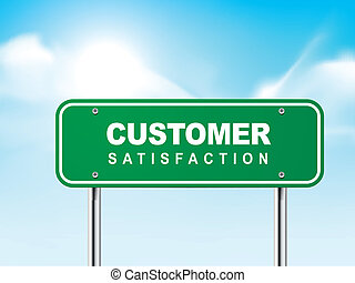 3d customer satisfaction road sign