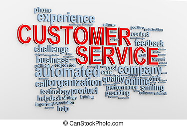 3d Customer service wordcloud