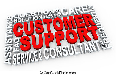 3d customer support - 3d render of words related to customer...