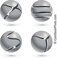 3D cut metal sphere signs isolated on white background.