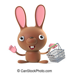 3d Cute cartoon bunny rabbit goes shopping