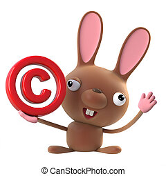 3d Cute cartoon Easter bunny has a copyright symbol