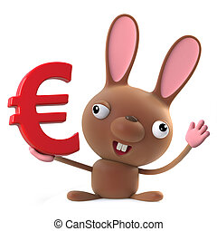 3d Cute cartoon Easter bunny rabbit character has a Euro currency symbol