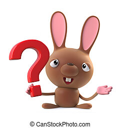 3d Cute cartoon Easter bunny rabbit character has a question to ask.