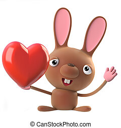 3d Cute cartoon Easter bunny rabbit character has a romantic heart