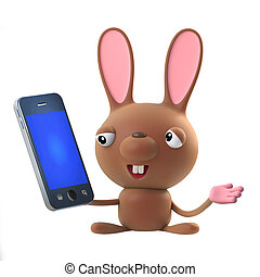 3d Cute cartoon Easter bunny rabbit character has a smartphone tablet device