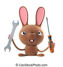 3d Cute cartoon Easter bunny rabbit character has a spanner...