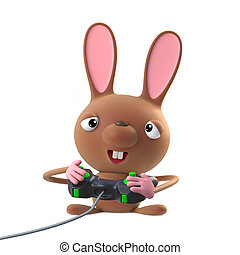 3d Cute cartoon Easter bunny rabbit character plays a video game