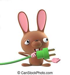 3d Cute cartoon Easter bunny rabbit character uses green energy