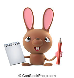 3d Cute cartoon Easter bunny rabbit character with a notepad and pencil