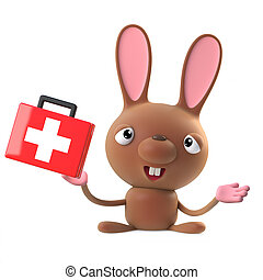 3d Cute cartoon Easter bunny rabbit character with first aid kit