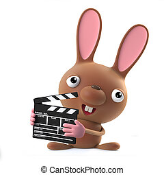 3d Cute cartoon Easter bunny rabbit is making a movie