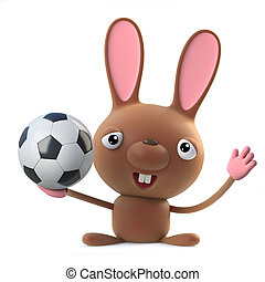 3d Cute cartoon Easter bunny rabbit loves football