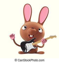 3d Cute cartoon Easter bunny rabbit plays electric guitar