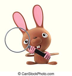 3d Cute cartoon Easter bunny rabbit using a magnifying glass