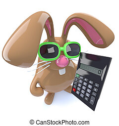 3d Cute chocolate Easter bunny rabbit holding a calculator