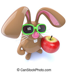 3d Cute chocolate Easter bunny rabbit holding an apple