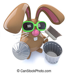 3d Cute chocolate Easter bunny rabbit ready to clean with a broom