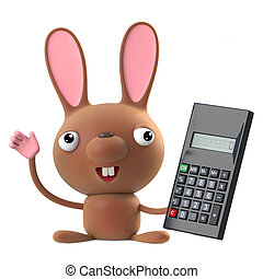 3d Cute Easter bunny rabbit has a new calculator
