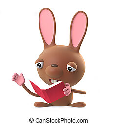 3d Cute Easter bunny rabbit is reading a book