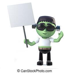 3d Cute Halloween frankenstein monster holding a blank placard