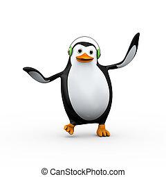 3d cute happy penguin singing and dancing