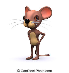 3d Cute mouse with hands on hips