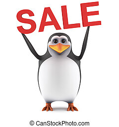 3d Cute penguin holds a Sale