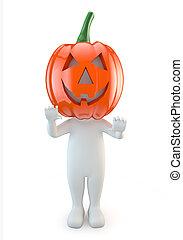 3d cute people - halloween pumpkin