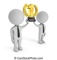 3d cute people - winning team with golden trophy