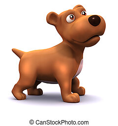 3d Cute puppy - 3d render of a cute dog from the side