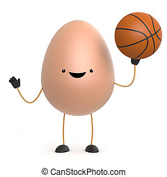 3d Cute toy egg plays with a basketball - 3d render of a...