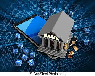 3d cyan - 3d illustration of mobile phone over digital...