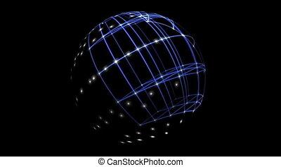 3d, cyber, sphère, antimation, espace, réseau