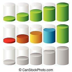 3d Cylinder level, completion, fullness or progress indicators.