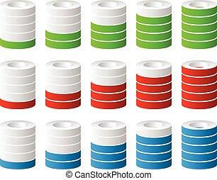 3d Cylinders. Level, completion, fullness, step or progress indicators.