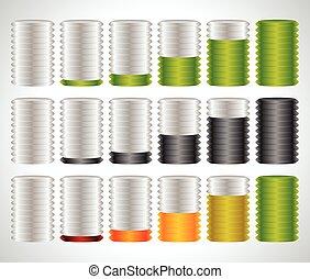 3d cylinders. Level, completion, fullness, steps or progress indicators.