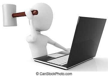 3d, człowiek, gniewny, na, jego, laptop