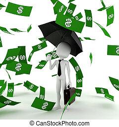 3d, człowiek, handlowiec, w pieniądzach, deszcz