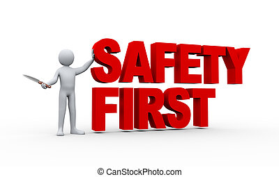 3d, człowiek, i, bezpieczeństwo pierwsze, pojęcie