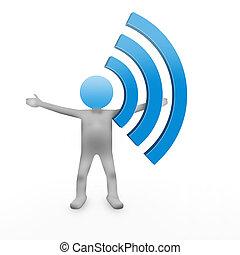 3d, człowiek, i, wifi, ikona