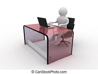 3d, człowiek, pracujący dalejże, laptop komputer