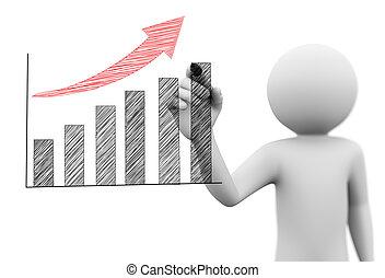 3d, człowiek, rysunek, bazgrać, wzrost, postęp zasuwają, wykres