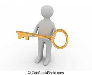 3d, człowiek, udzielanie, złoty, klucz, do, inny, osoba