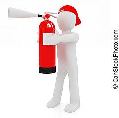 3d, człowiek, z, czerwona ogniowa gaśnica