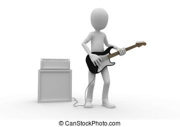 3d, człowiek, z, gitara