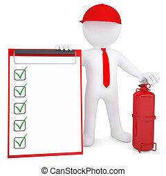 3d, człowiek, z, ogień gaśnica, i, checklist